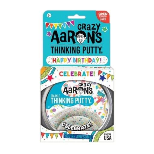 112571-2 Crazy Aarons Thinking Putty Big Tin Happy Birthday Celebrate