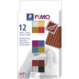 112584 STAEDTLER FIMO Modellera Colour Pack Leather Effect 12x25 g