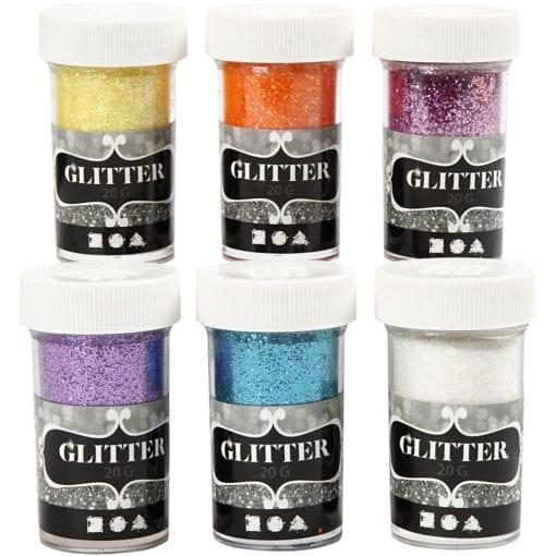 112590 Glitter Mixade färger 6x20 g