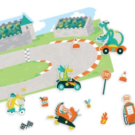 112613-1 OOLY Återanvändbara Klistermärken Dragon Racetrack Reusable Sticker Scenes