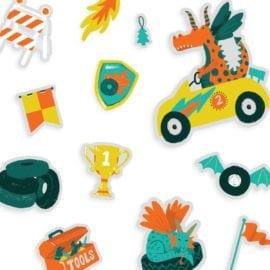 112613-2 OOLY Återanvändbara Klistermärken Dragon Racetrack Reusable Sticker Scenes
