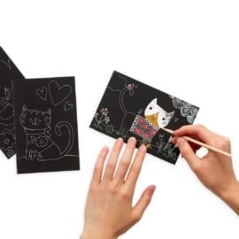 112621-1 OOLY Skrapmotiv Cutie Cats Scratch And Scribble Mini Art Kit