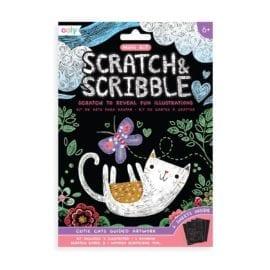 112621-3 OOLY Skrapmotiv Cutie Cats Scratch And Scribble Mini Art Kit