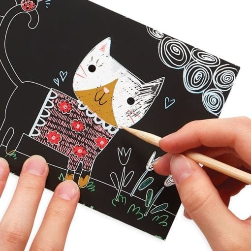 112621 OOLY Skrapmotiv Cutie Cats Scratch And Scribble Mini Art Kit