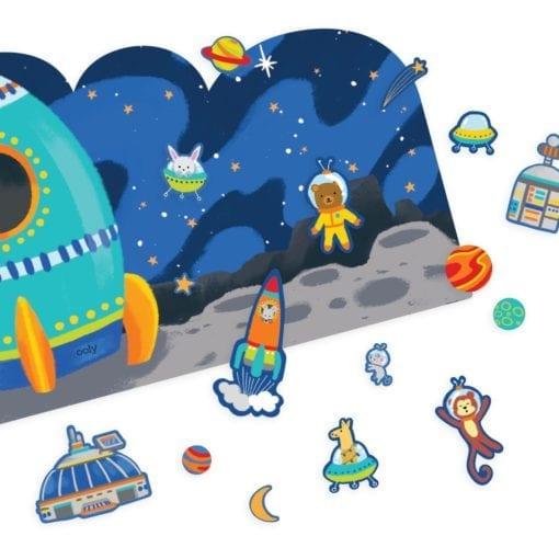 112657-10 OOLY Återanvändbara Klistermärken Space Critters Reusable Sticker Scenes