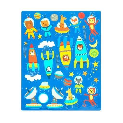 112657-2 OOLY Återanvändbara Klistermärken Space Critters Reusable Sticker Scenes