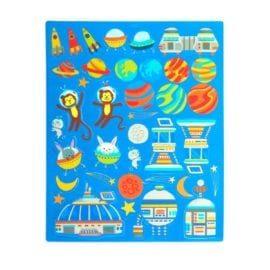 112657-8 OOLY Återanvändbara Klistermärken Space Critters Reusable Sticker Scenes