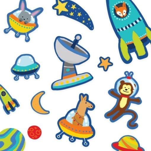 112657-9 OOLY Återanvändbara Klistermärken Space Critters Reusable Sticker Scenes