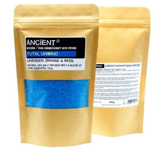 112718 Ancient Wisdom Badsalt Total Unwind Aromatherapy Bath Potion in Kraft Bag 350 gram