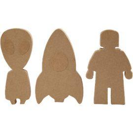 112781 Papier-maché Astronaut, Rymdraket, Utomjording 18x2.5 cm