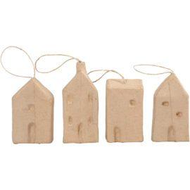 112783 Papier-maché Hus Med Upphängning L 9.5-12 cm 4-Pack