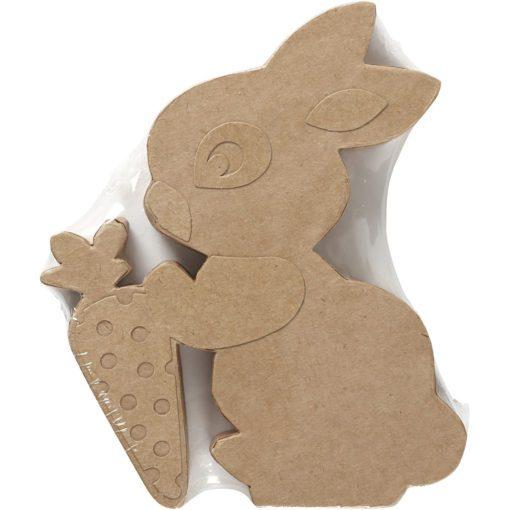 112784-2 Papier-maché Kanin Med Morot 18x2.5 cm