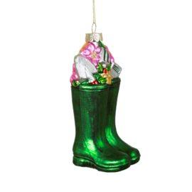112801 Sass & Belle Julgranskula i Glas Wellington Boots Shaped Bouble