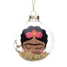 112802 Sass & Belle Julgranskula i Glas Frida Kahlo Glitter Bauble