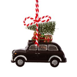 112803 Sass & Belle Julgranskula London Christmas Black Cab Shaped Bauble
