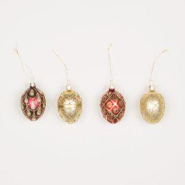 112804 Sass & Belle Julgranskula i Glas Red & Gold Heirloom Oval Baubles - Set of 4