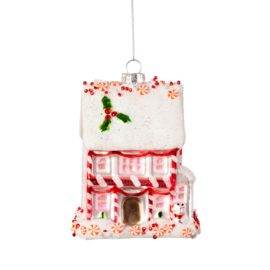 112806 Sass & Belle Julgranskula i Glas Pink Fairytale Gingerbread House Shaped Bauble (2)