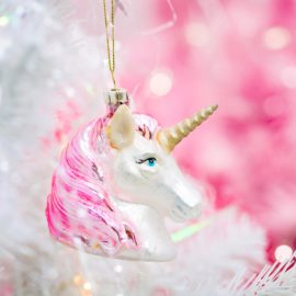 112807 Sass & Belle Julgranskula i Glas Pink Shimmer Unicorn Head Shaped Bauble