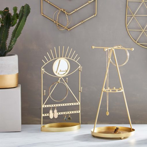 112810-2 Sass & Belle Spegel & Smyckesfat Gold Eye See You Jewellery Holder With Mirror