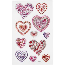 112815 Diamond Stickers Hjärtan 15x16.5 cm 1 Ark