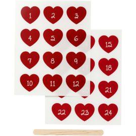 112831 Stickers Rub-on Röda Hjärtan Kalendersiffror