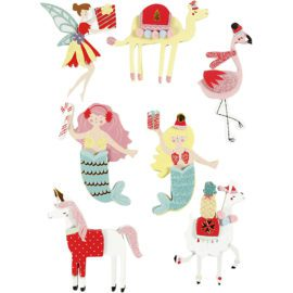 112833 3D-Stickers Flamingo, Lama, Sjöjungfru 7 St. 1 Ark