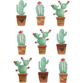 112834 3D-Stickers Kaktus 9 St. 1 Ark
