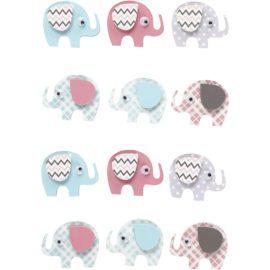 112836 3D-Stickers Elefant 12 St. 1 Ark