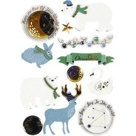 112839 3D-Stickers Isbjörn, Hare, Merry Christmas Budskap 11 St. 1 Ark