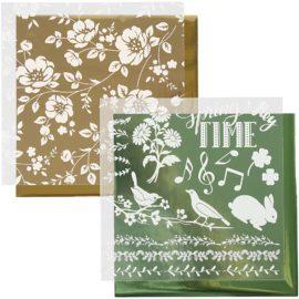 112878 Dekorationsfolie och Limark Motiv Blommor 15x15 cm, Gosa, Guld2