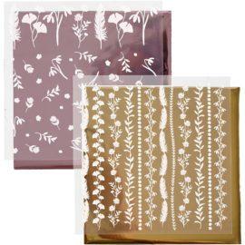 112879 Dekorationsfolie och Limark Motiv Blad 15x15 cm, Rosa, Guld2