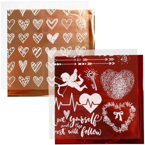 112880-1 Dekorationsfolie och Limark Motiv Hjärtan, Kärlek 15x15 cm, Röd