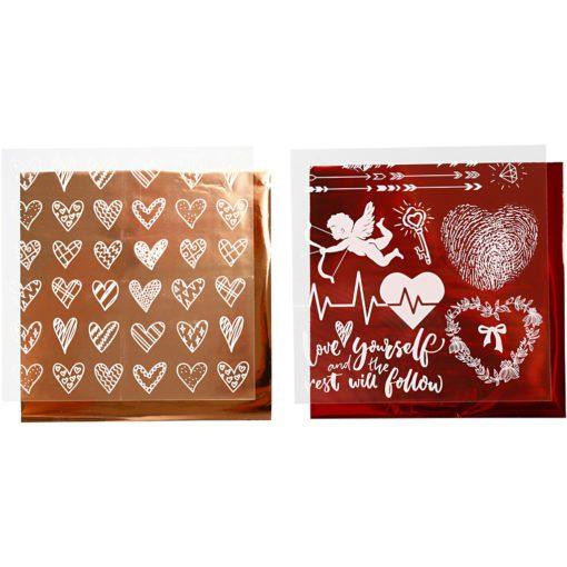 112880-2 Dekorationsfolie och Limark Motiv Hjärtan, Kärlek 15x15 cm, Röd