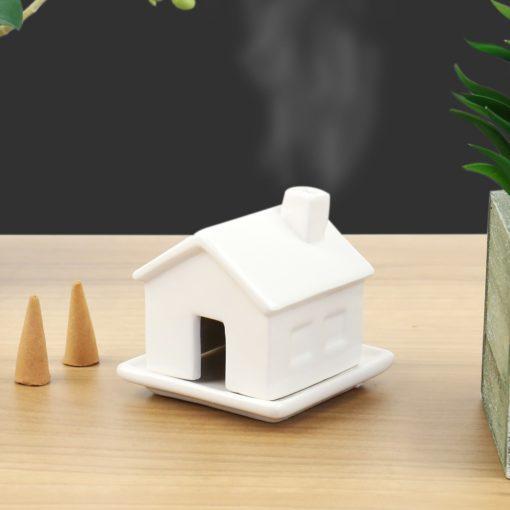 112894 Gift Republic Rökelsebrännare Incense House inkl. Rökelsekoner i Sandelträ2