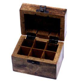 112906-1 Ancient Wisdom Skrin, Förvaringslåda i Mangoträ för 6 Eteriska Oljor, Parfymoljor - Aromaterapi