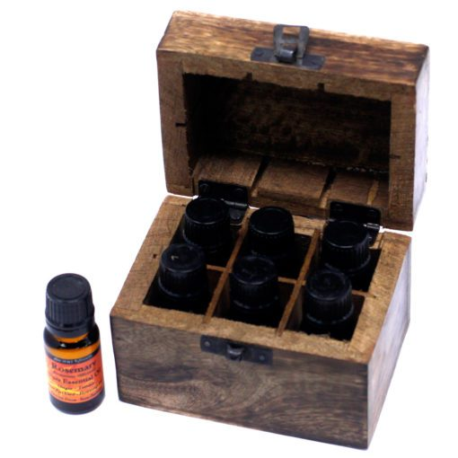 112906-2 Ancient Wisdom Skrin, Förvaringslåda i Mangoträ för 6 Eteriska Oljor, Parfymoljor - Aromaterapi