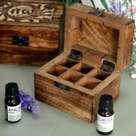 112906-3 Ancient Wisdom Skrin, Förvaringslåda i Mangoträ för 6 Eteriska Oljor, Parfymoljor - Aromaterapi