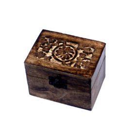 112906 Ancient Wisdom Skrin, Förvaringslåda i Mangoträ för 6 Eteriska Oljor, Parfymoljor - Aromaterapi