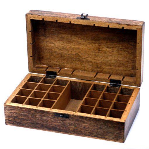 112907-1 Ancient Wisdom Skrin, Förvaringslåda i Mangoträ för 24+1 Eteriska Oljor, Parfymoljor - Aromaterapi