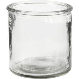 112924 Ljushållare Cylinderform i Klart Glas till Ljusgjutning 7.8 cm, 6 St.