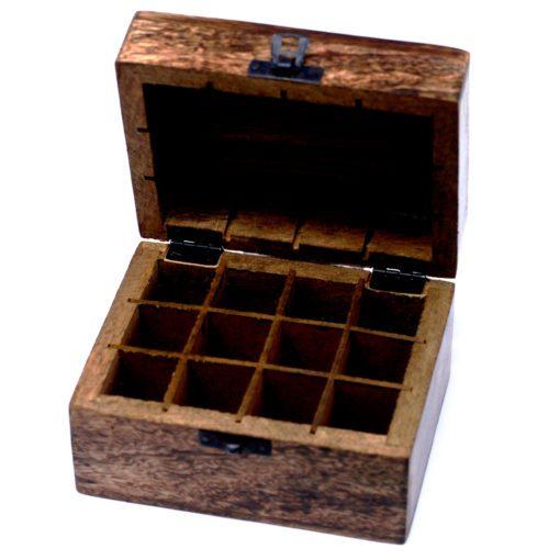 112925-1 Skrin, Förvaringslåda i Mangoträ för 12 Eteriska Oljor, Parfymoljor - Aromaterapi