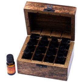 112925-2 Skrin, Förvaringslåda i Mangoträ för 12 Eteriska Oljor, Parfymoljor - Aromaterapi