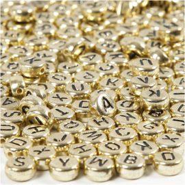 113097 Bokstavspärlor Rund Guld med Svart Tryck 7x1.2 mm, 21 g, 1 Förp.