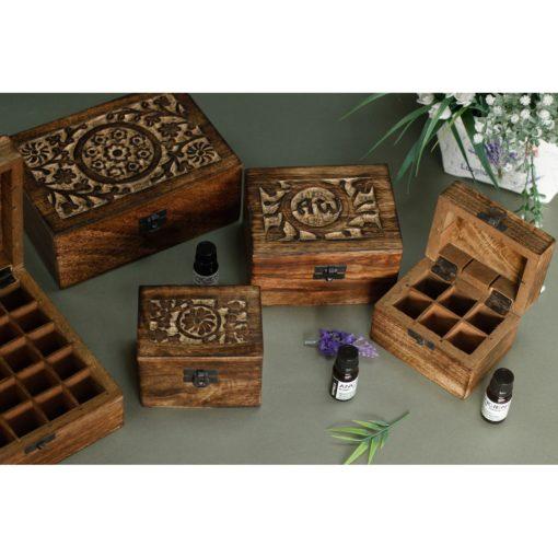 Skrin, Förvaringslåda i Mangoträ för Eteriska Oljor, Parfymoljor - Aromaterapi