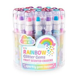 112977-1 OOLY Luktsudd Rainbow Glitter Gem Fruit Scented Erasers