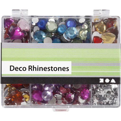 113001-2 Strasstenar, Rhinestones Hjärtan, Stjärnor & Runda i Praktisk Ask 300 st
