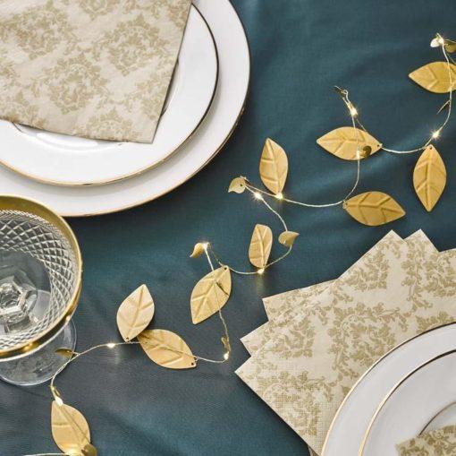 Talking Tables Ljusslinga Damast med Guld Metallic blad – Party Porcelain