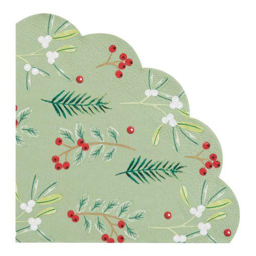 113094-1 Talking Tables Servetter Julmotiv Skulpterad Kant 30 cm dia 20 st - Botanical Berry