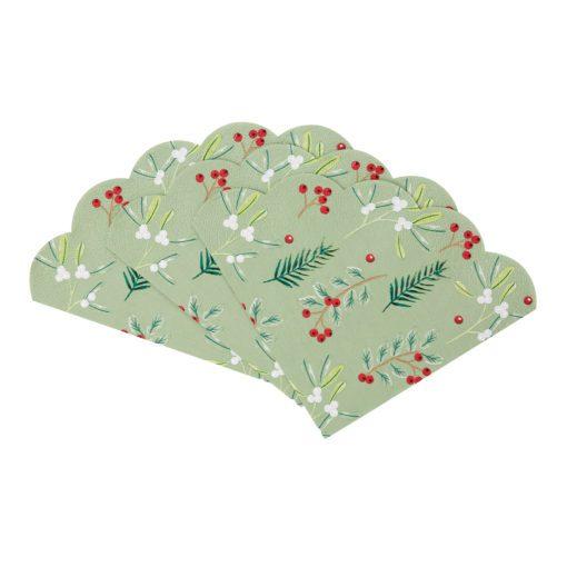 113094-2 Talking Tables Servetter Julmotiv Skulpterad Kant 30 cm dia 20 st - Botanical Berry