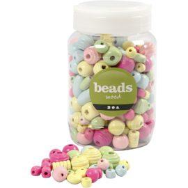 113101 Träpärlor i Pastell till Smyckestillverkning 10-15 mm, 400 ml